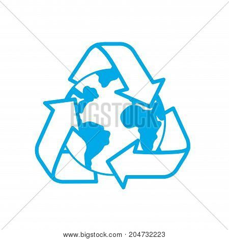 silhouette earth planet with recycle symbol design vector illustration