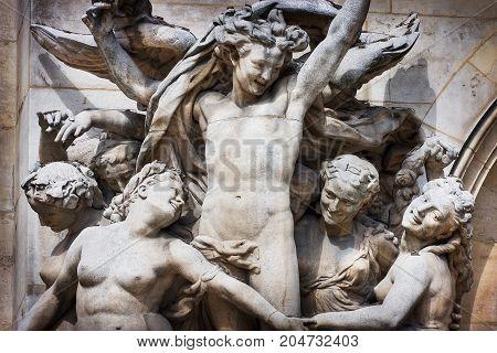 France, Paris - Spring 2008: Stone sculptures on the facade of the Grand Opera. Paris