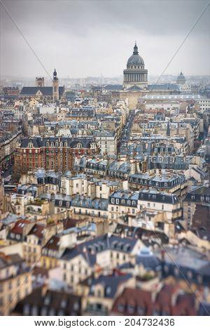 View from Notre-Dame de Paris to Latin Quarter and Pantheon in Paris. France. Tilt-shift effect