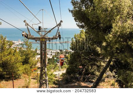 Yalta, Crimea - 11 July, Support cable car, 11 July, 2017. City views of Yalta from the height of the cable car.