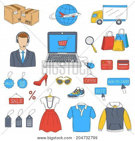 Online shopping hand drawn doodle icons set, vector illustration. Shopping, delivery and customer support symbols, laptop computer, call center man, truck, package, clothing.