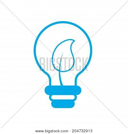silhouette bulb with leaf inside to ecological symbol vector illustration