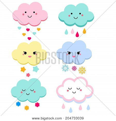 Cute clouds vector illustration for kids. isolated design children stickers. Baby shower clouds in kawaii style