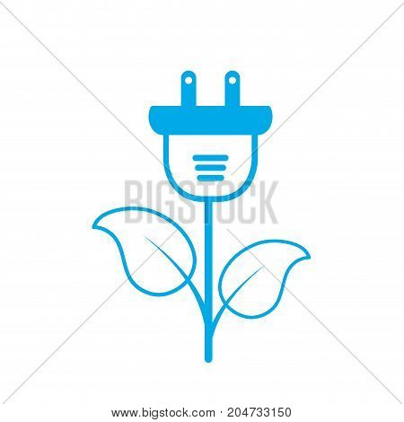 silhouette ecology power cable with natural leaves vector illustration