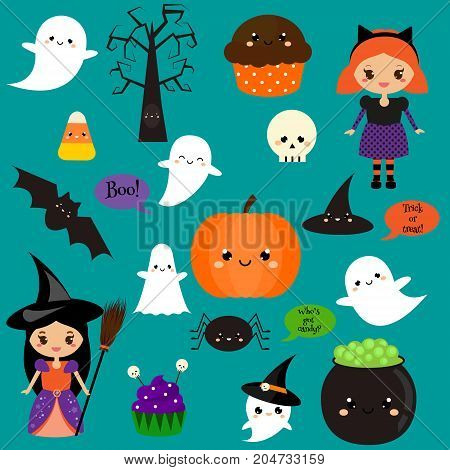 Halloween stickers, patches, badges. Cute pumpkin, ghosts, kids and other holiday symbols in kawaii style. Design elements for children party invitations, scrapbook and etc