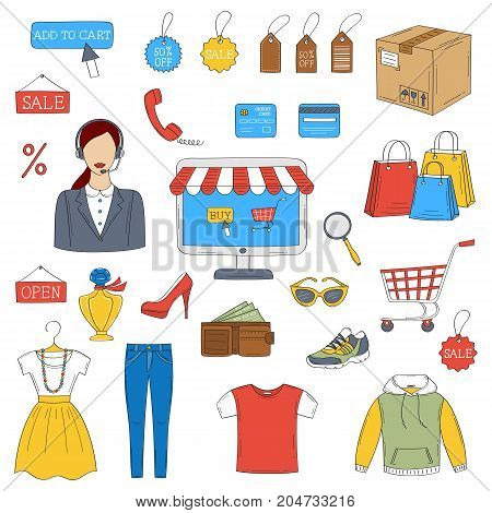 Online shopping hand drawn doodle icons set, vector illustration. Shopping, delivery and customer support symbols, computer, call center woman, shopping cart, package, clothing.