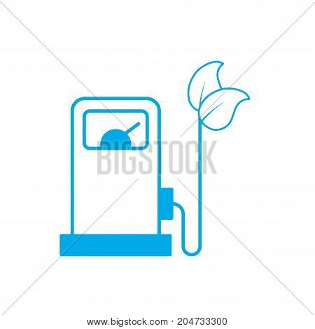 silhouette gas machine and cable with leaves to environment care vector illustration