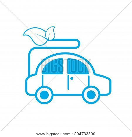 silhouette ecologycal car with leaves to environment care vector illustration