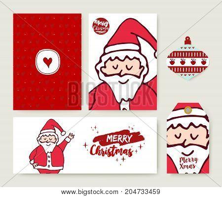 Christmas Santa Claus Cartoon Holiday Card Set