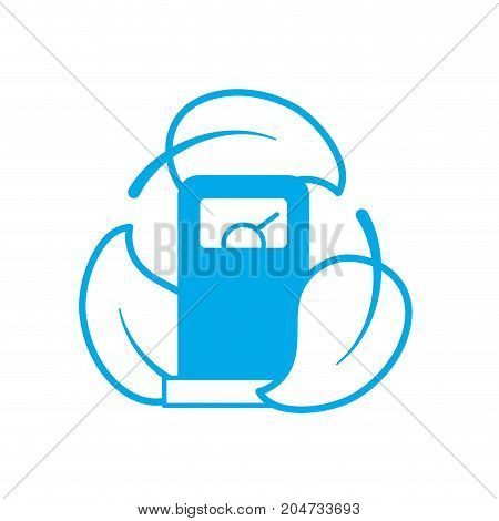 silhouettte gas machine with ecological leaves around vector illustration