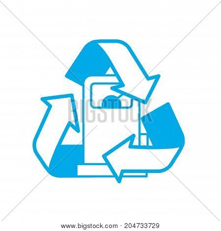 silhouette gas machine with recycle symbol around vector illustration