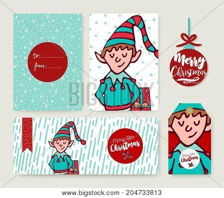 Christmas Holiday Card Template Cartoon Elf Set