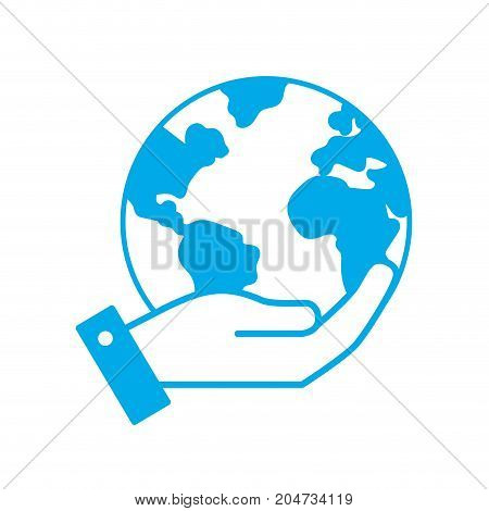 silhouette hand with earth planet and natural ecology vector illustration