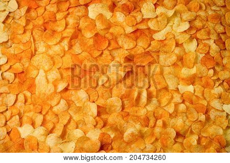 Chips Potato Texture. Large Background Of Golden Chips