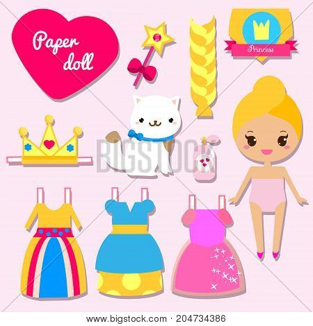 Cute princess paper doll for girls. Dress up the doll game
