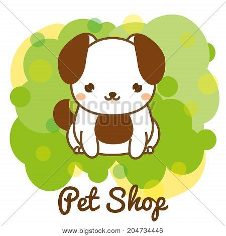 Pet shop banner with cute puppy. Little dog sitting advertisement for animals store.