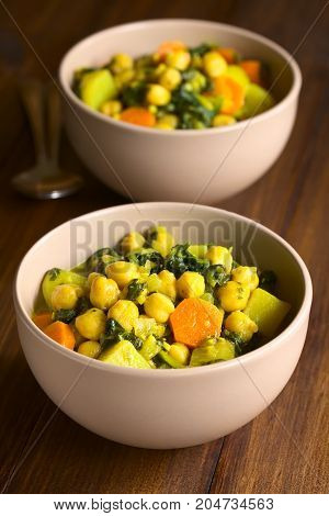 Vegan chickpea curry or chana masala with spinach potato and carrot photographed with natural light (Selective Focus Focus one third into the first curry)