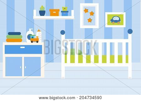 Nursery room interior. Apartment in blue colors and white furniture. Baby boy bedroom design with bed shelves toys. Vector illustration.