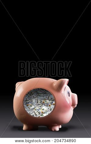 Piggy bank inside full of cash with room for your type.
