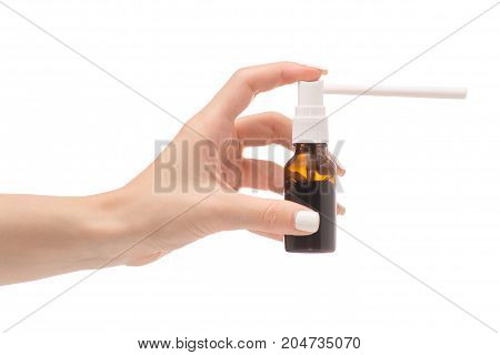 Female hand spray for throat on white background isolation