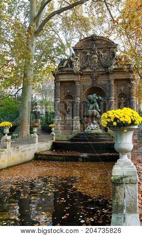 Medici Fountain in the Luxembourg Garden -Jardin du Luxembourg. It was built in about 1630 by Marie de'Medici, the widow of King Henry IV of France. Paris.