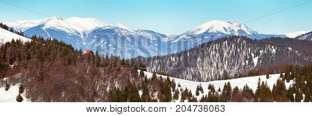 View from Velka Fatra mountains Borisov Chalet and Mala Fatra mountains with mounts Krivan Stoh and Rozsutec