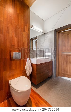 Wooden Bathroom With Toilet