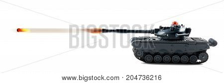 Tank fire power with a tank firing.