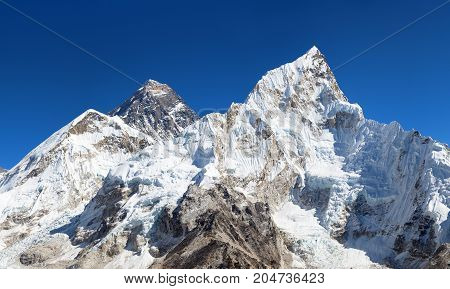 View of top of Mount Everest and Nuptse from Kala Patthar way to mount Everest base camp khumbu valley nepalese himalayas - Nepal