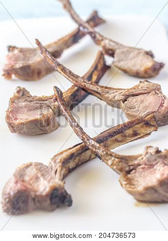 Grilled Lamb Rib Chops On The Plate