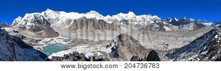 Beautiful panoramic view of Mount Cho Oyu and Cho Oyu base camp mountain lakes Everest Lhotse Gyachung Kang Ngozumba and Gyazumba glaciers - Sagarmatha national park Khumbu valley Nepal