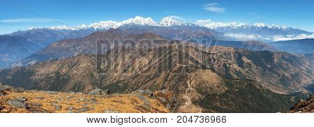 Panoramic view of himalaya range from Pikey peak - trekking trail from Jiri Bazar to Lukla and Everest base camp nepalese himalayas mounts Everest and Lhotse Nepal