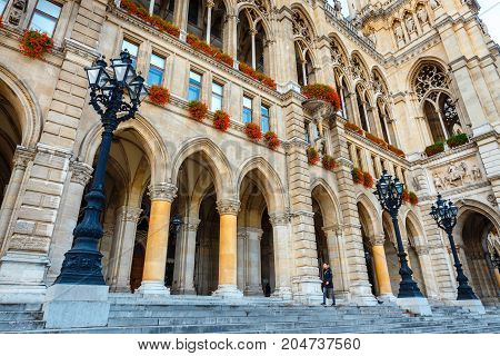 Vienna, Austria, October 14, 2016: Courtyard Of City Hall In Vienna Also Know As Rathaus, Austria