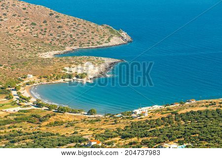 Beautiful Greek Seascape At Sunny Day. Place Of North Crete, East Of Agios Nikolaos