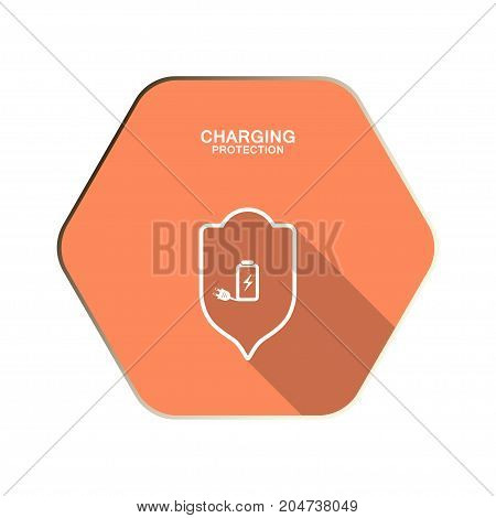 Vector Charging protection icon with shield and lightning on the red hexagon background with shadow.