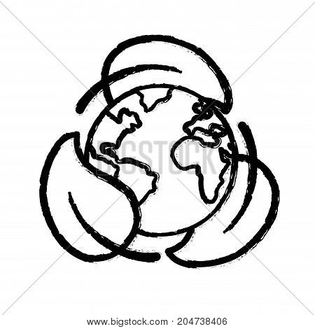 figure earth planet with ecological leaves design vector illustration