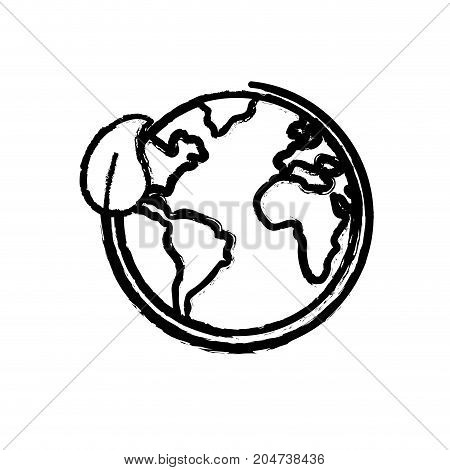 figure earth planet with ecological leaf design vector illustration