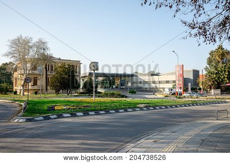 Nicosia, Cyprus, March 2017: A view of Supreme Court of Cyprus at road junction in Nicosia