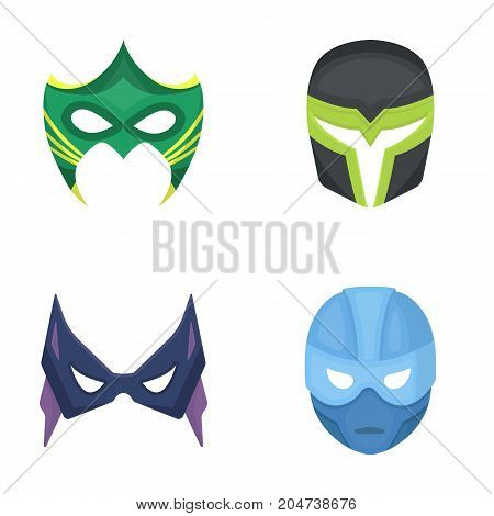 Mask on the head and eyes. Super Hero Mask set collection icons in cartoon style vector symbol stock illustration .