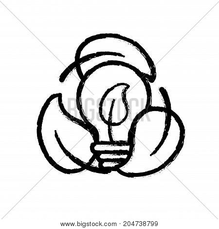 figure nice bulb with leaf inside and leaves around vector illustration