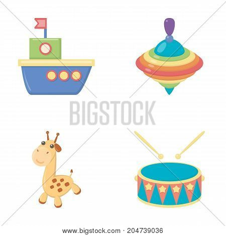 Ship, yule, giraffe, drum.Toys set collection icons in cartoon style vector symbol stock illustration .