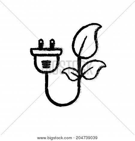 figure ecology power cable with natural leaves vector illustration
