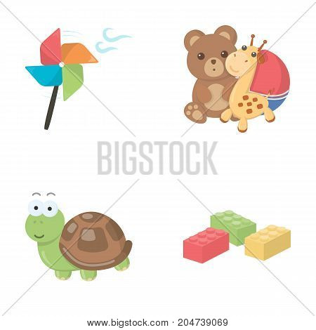 A toy propeller, a teddy bear with a giraffe and a colorful ball, a toy turtle, a lego, a designer for children. Toys set collection icons in cartoon style vector symbol stock illustration . poster