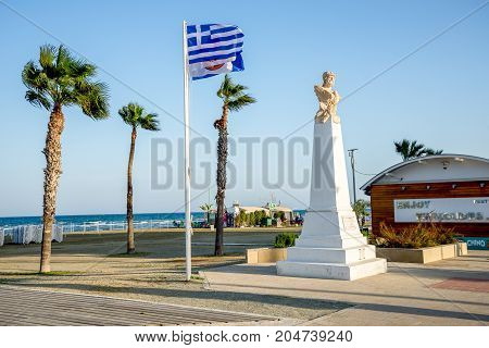 Larnaca, Cyprus, March 2017: Bust of Athenian general Kimon at Finikoudes beach in Larnaca Cyprus