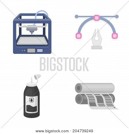 3D printer, newspaper printer, ink, pen. Typography set collection icons in cartoon style vector symbol stock illustration .