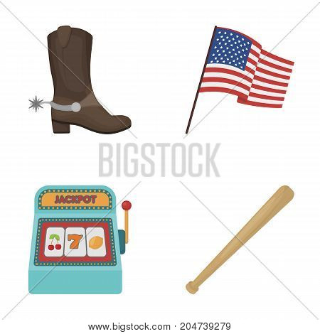 Cowboy boots, national flag, slot machine, baseball bat. USA country set collection icons in cartoon style vector symbol stock illustration .