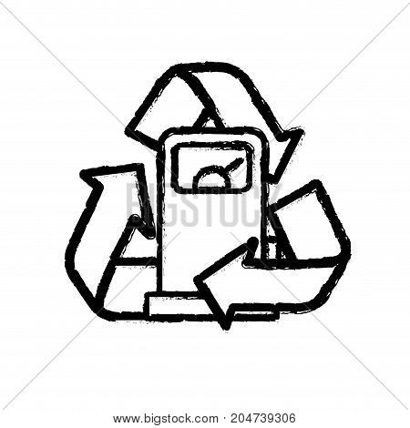 figure gas machine with recycle symbol around vector illustration