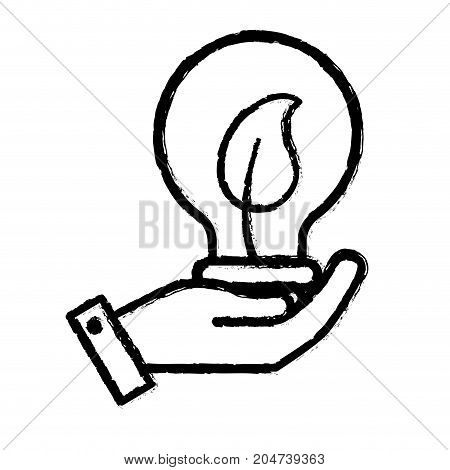 figure hand with bulb with leaf inside vector illustration