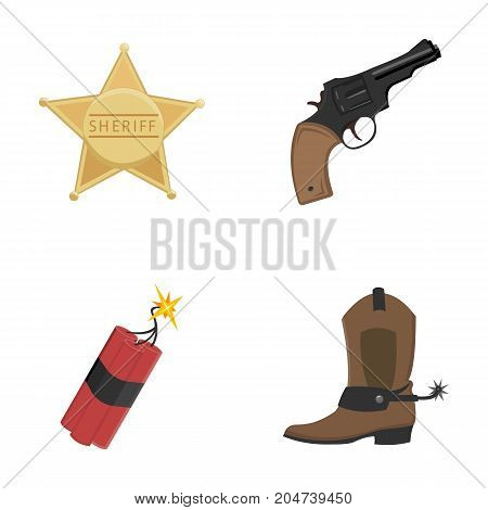 Star sheriff, Colt, dynamite, cowboy boot. Wild West set collection icons in cartoon style vector symbol stock illustration .