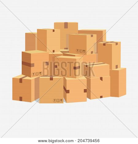 Pile of cardboard boxes, stacked sealed goods. Parcel packaging and Delivery, Carton box set. Vector